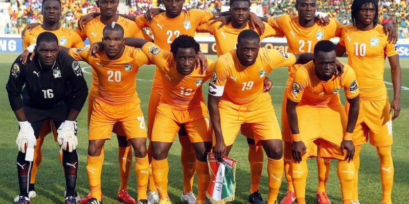 Ivory Coast national soccer team players players pose for a photograph before the start of their Group D soccer match